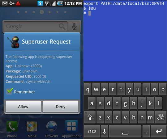 The superuser app running on the Captivate (AT&T)