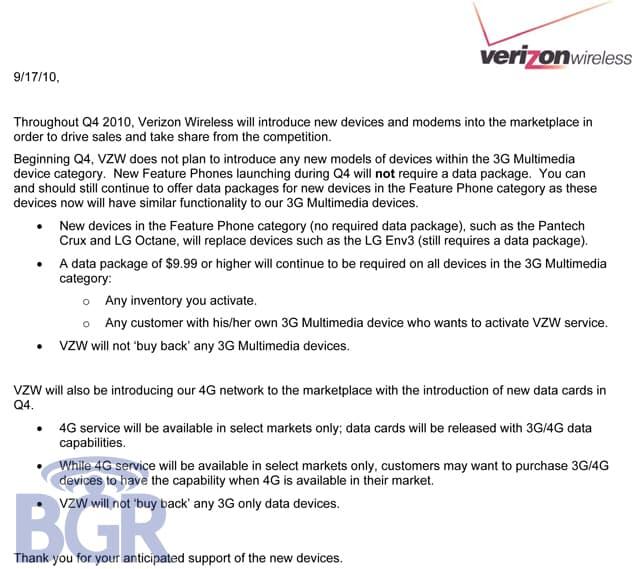 Verizon Data Plan Memo