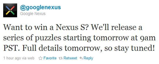 Want to win a Nexus S? Follow @googlenexus on Twitter