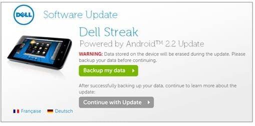 Dell Streak 2.2 Update Screen