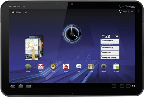 motorola xoom tablet with android 3.0 honeycomb