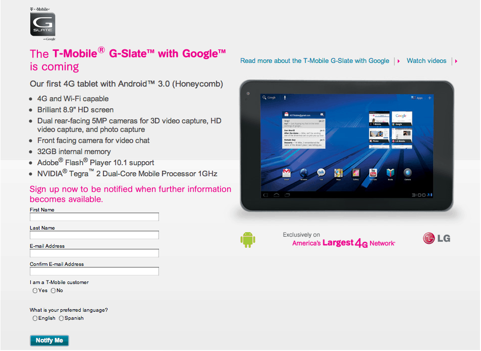 tmobile g-slate sign up