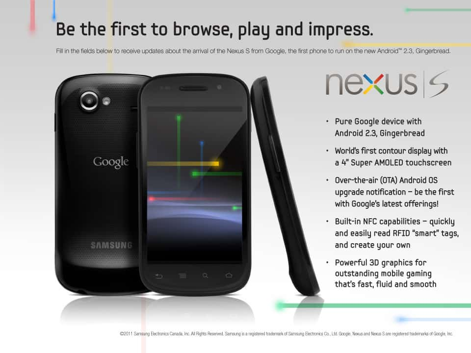 Google Nexus S Canada Launch Registration