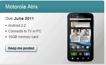 motorola atrix t mobile coming soon