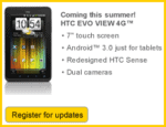 Sprint plans for its HTC Evo View tablet to run Honeycomb