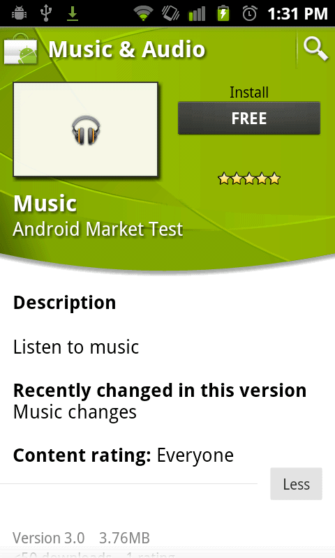 google android market test music