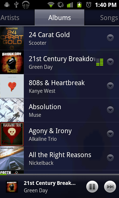 google android market test music albums