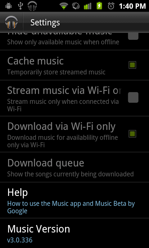 google android market test music settings