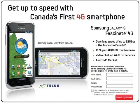 telus galaxy s fascinate 4g sign up