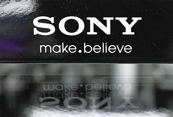 A logo of Sony is pictured at an electronic store in Tokyo