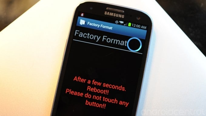 screenshot of phone doing through a factory reset stage