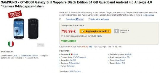 Featured: 64GB Samsung Galaxy S III Spotted On Italian Website