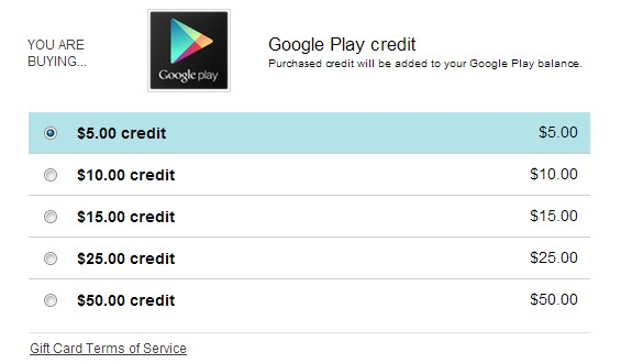 Featured: You Can Now Buy Google Play Store Credits Directly Online
