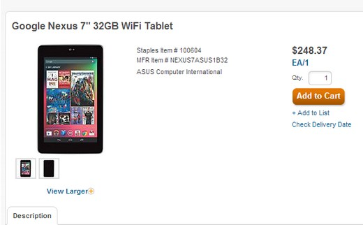 Featured: Listing Shows Nexus 7 32GB Costing Just $250, Available October 18th