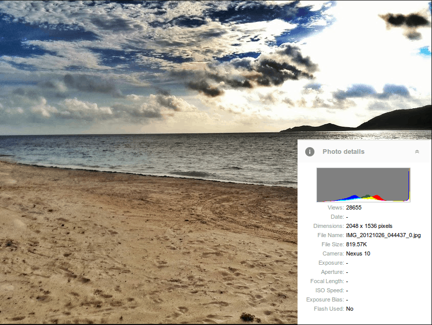 Photo of a beach taken with the Nexus 10