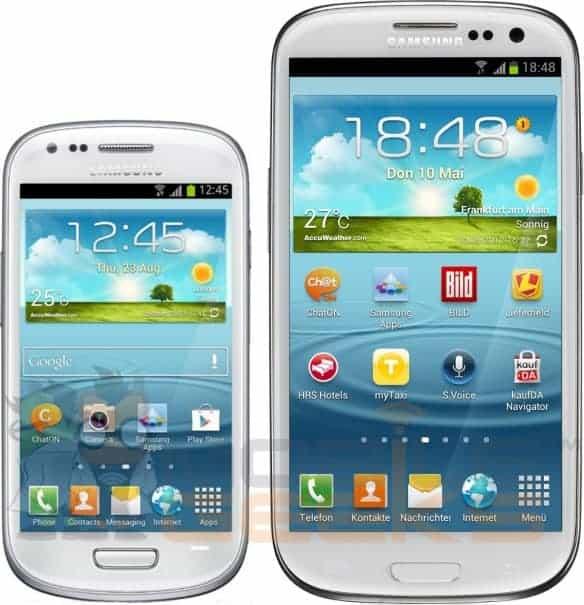 Size comparison of the Samsung Galaxy S III Mini and Galaxy S III
