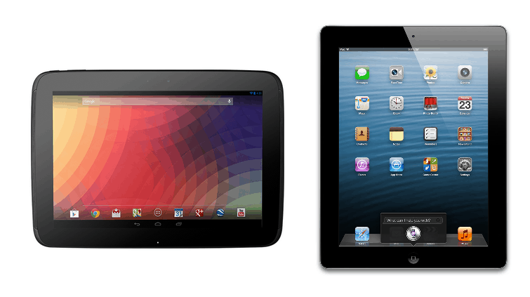 Google Nexus 10 and the iPad 4
