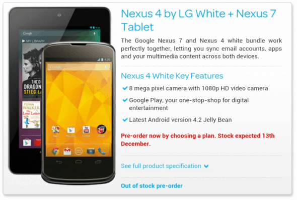 White Nexus 4 Bundle Talk Talk