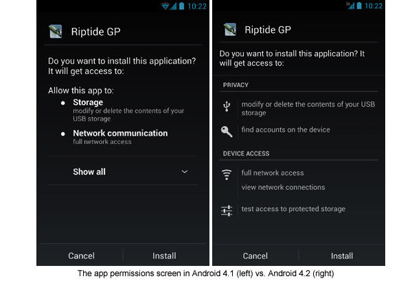 Screenshot of Android 4.1 Permission Screen vs Android 4.2 Permission Screen