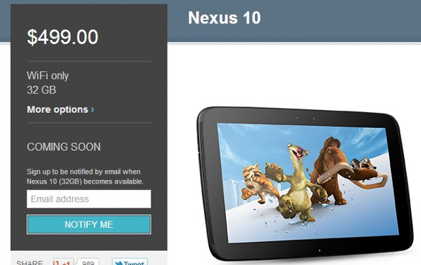 32GB Nexus 10 Already Sold Out In The Play Store