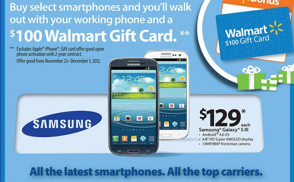 Walmart To Have Many Black Friday Deals, $100 Gift Card With Select Android Phones