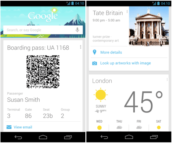 New Google Now Travel Cards Update