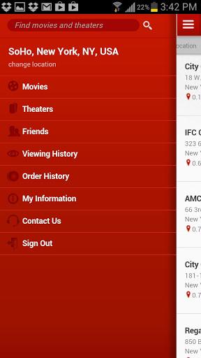 MoviePass App Menu