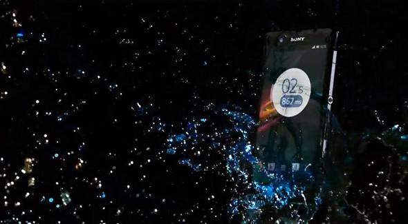 Sony Xperia Z splashed