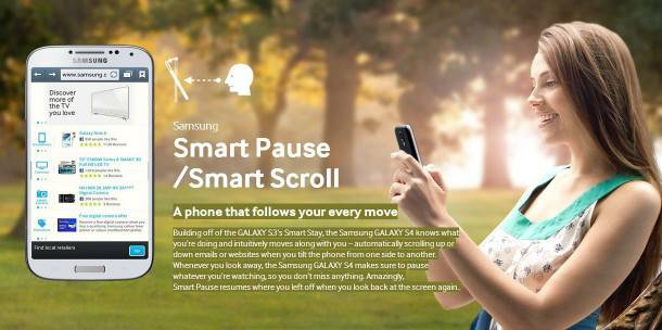 Galaxy S4 Smart Pause and Smart Scroll