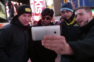 HTC Showed Off the One in Times Square During Samsung's event