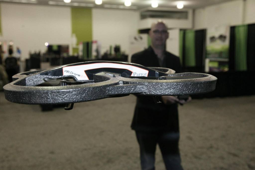 Parrot AR Drone with Project SHIELD in the background