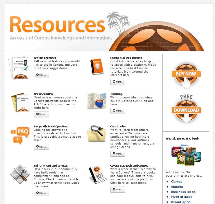 Corona SDK Resources