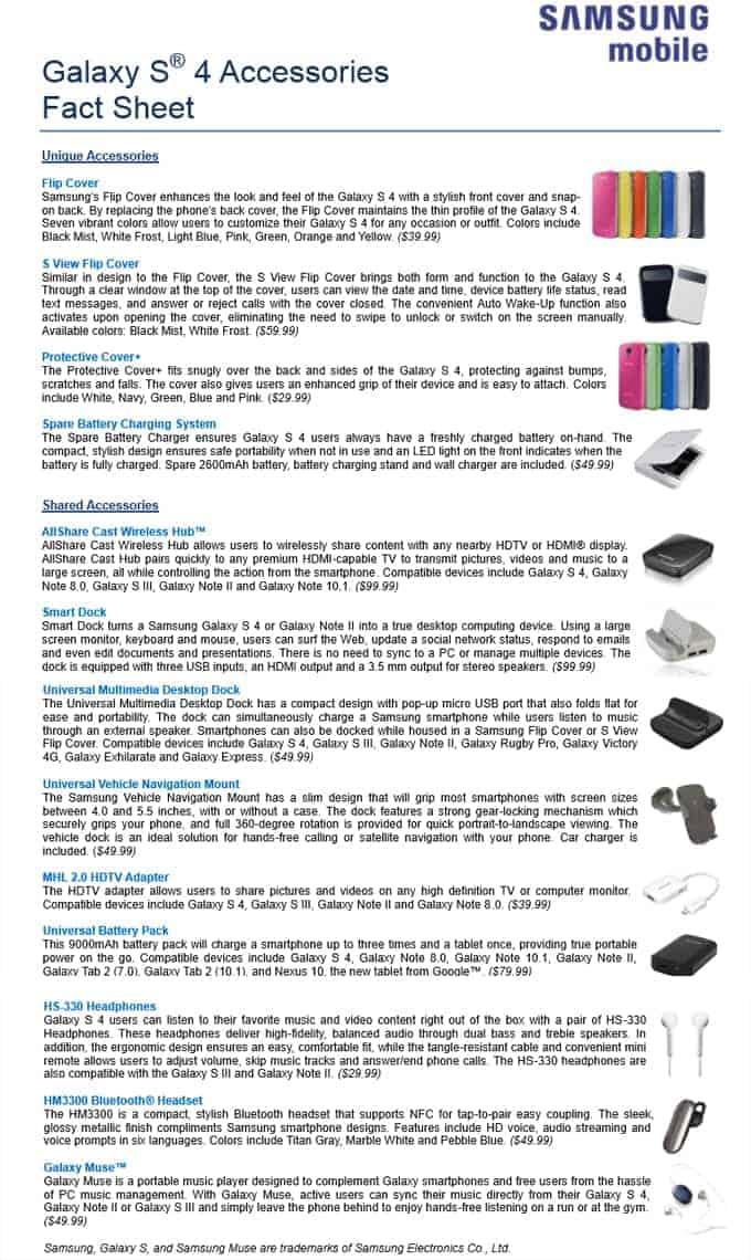 Galaxy S4 Fact Sheet