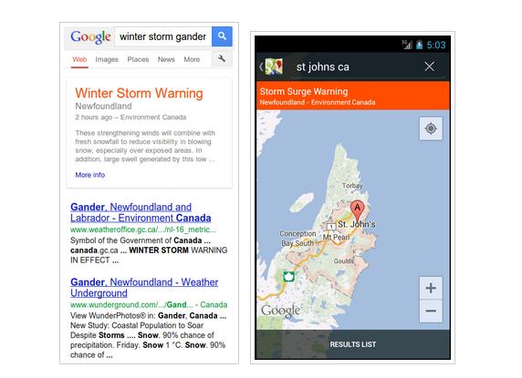 Public Alerts Google Canada
