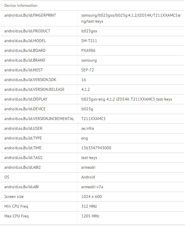 SM-T211 Galaxy Tab 3 Specs