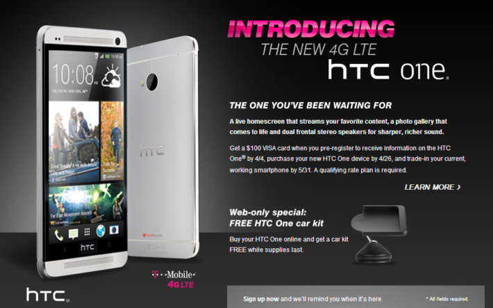 T-Mobile HTC One Shows up Sans T-Mo Branding