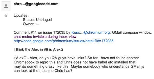 issue 172035 in chromium gmail compose window chat moles invisible during inbox view google groups