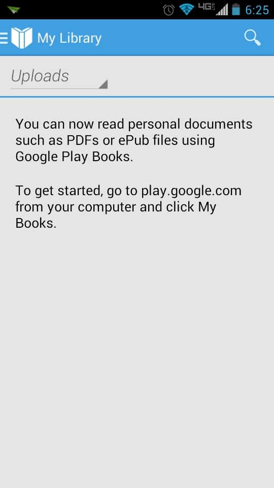 Google Play Book mobile uploads