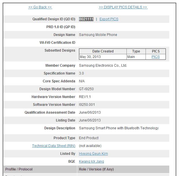 New Galaxy Nexus Bluetooth SIG