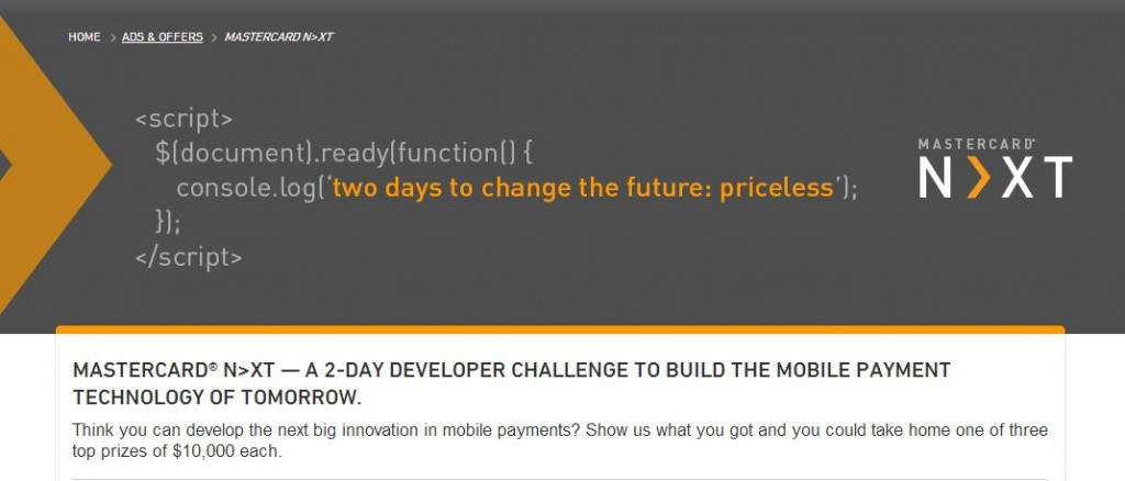 Mastercard developer mobile payment challenge