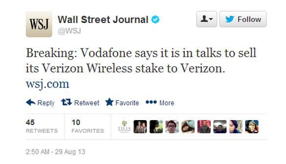 WSJ Vodafone Tweet