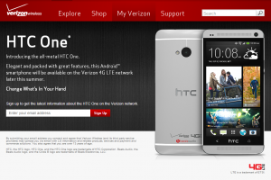 HTC One Sign Up Page Appears on Verizon's Site – Has Less Logos than the LG G2