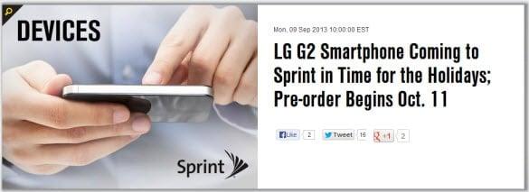 LG G2 Preorder