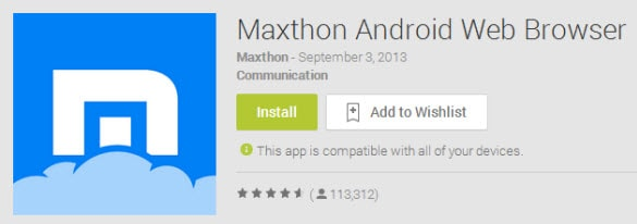 Maxthon Browser in Google Play