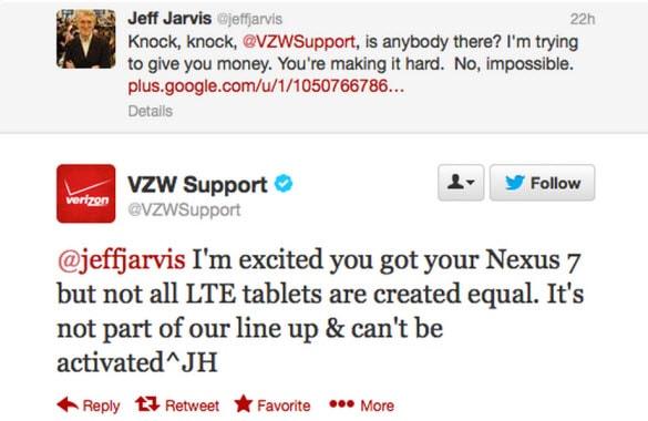 Nexus 7 Tweet