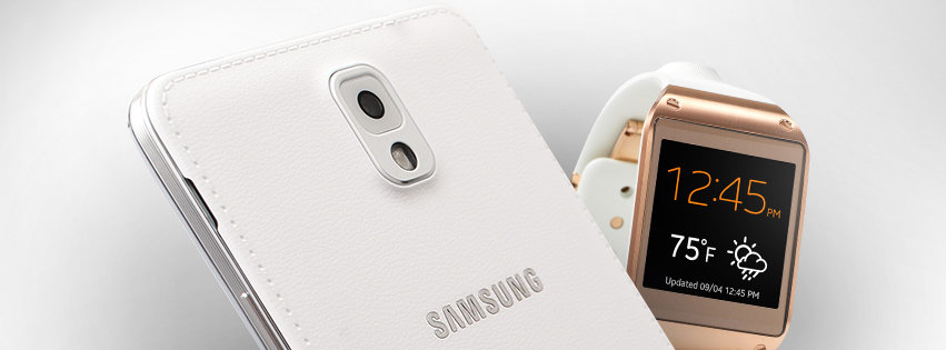 Note 3 white and galaxy gear wtach wide shot