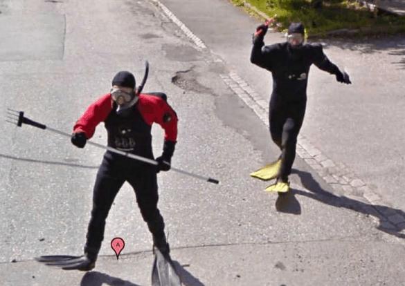 Scuba Divers in Street
