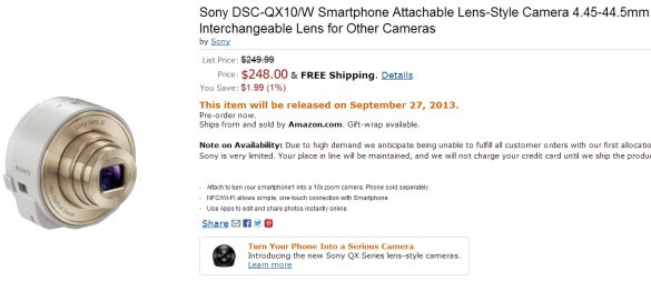 Sony DSCQX10 lens