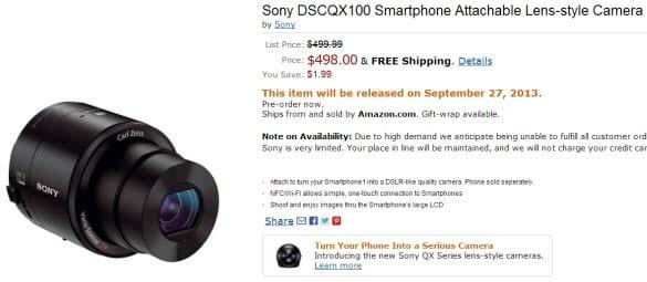 Sony DSCQX100 Lens