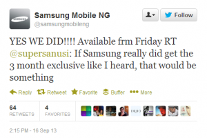 BBM Hitting Samsung Mobile in Nigeria this Friday….Claiming 3-Month Exclusivity